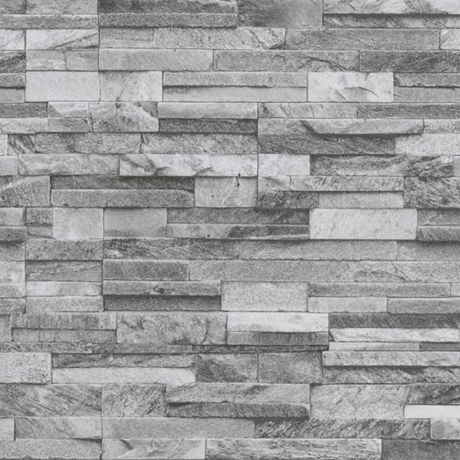 P s international slate brick pattern faux stone effect textured wallpaper 42106 40 light grey - Color piedra pintura pared ...