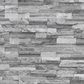 P&S International Slate Brick Pattern Faux Stone Effect Textured Wallpaper 42106-40