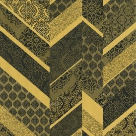 P&S International Stripe Ornament Metallic Textured Geometric Detail Wallpaper