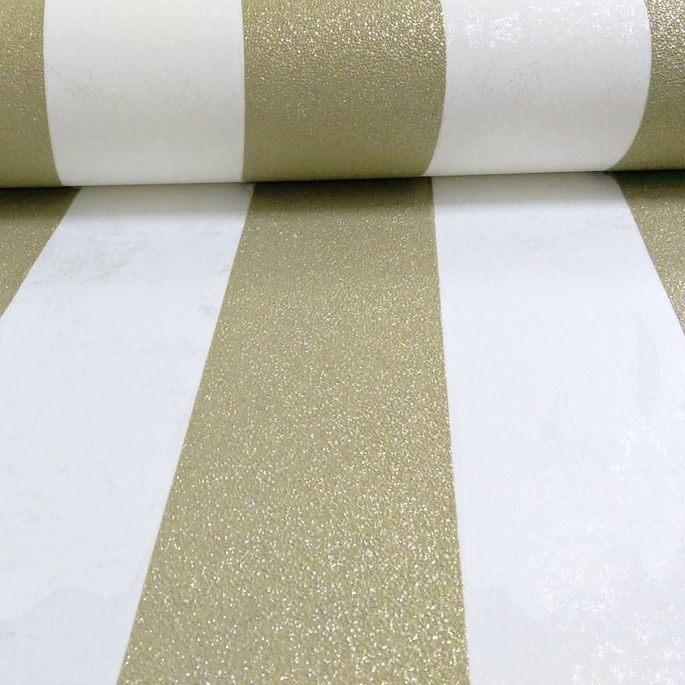 PampS International Stripe Pattern Glitter Motif Metallic Textured Wallpaper