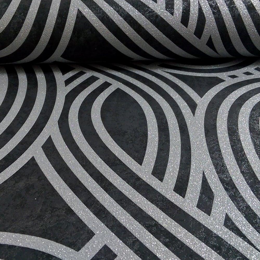P S International P S International Wave Stripe Textured Glitter Motif Metallic Embossed Wallpaper 13345 30
