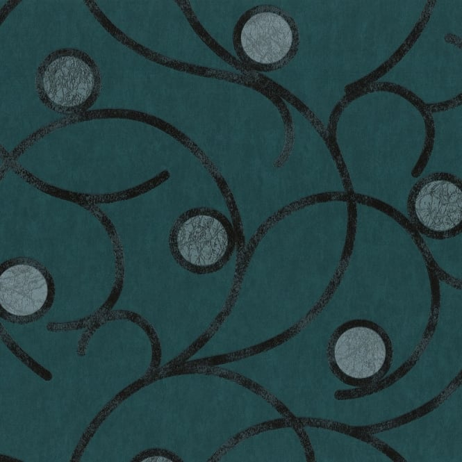 P&S International P&S Magic Circles Swirl Motif Pattern Metallic Textured Designer Wallpaper 02420-60