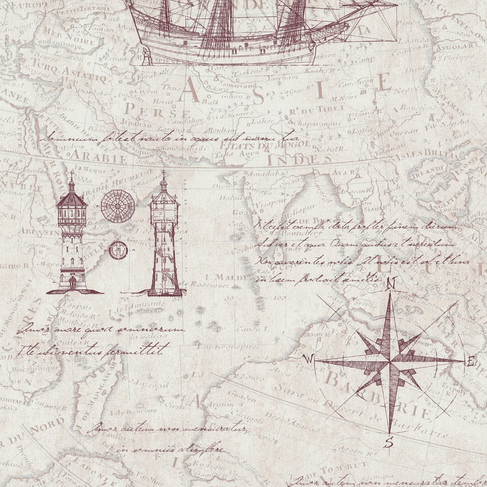 Art Décor: P&S Vintage Atlas Map Pattern Old Nautical Textured