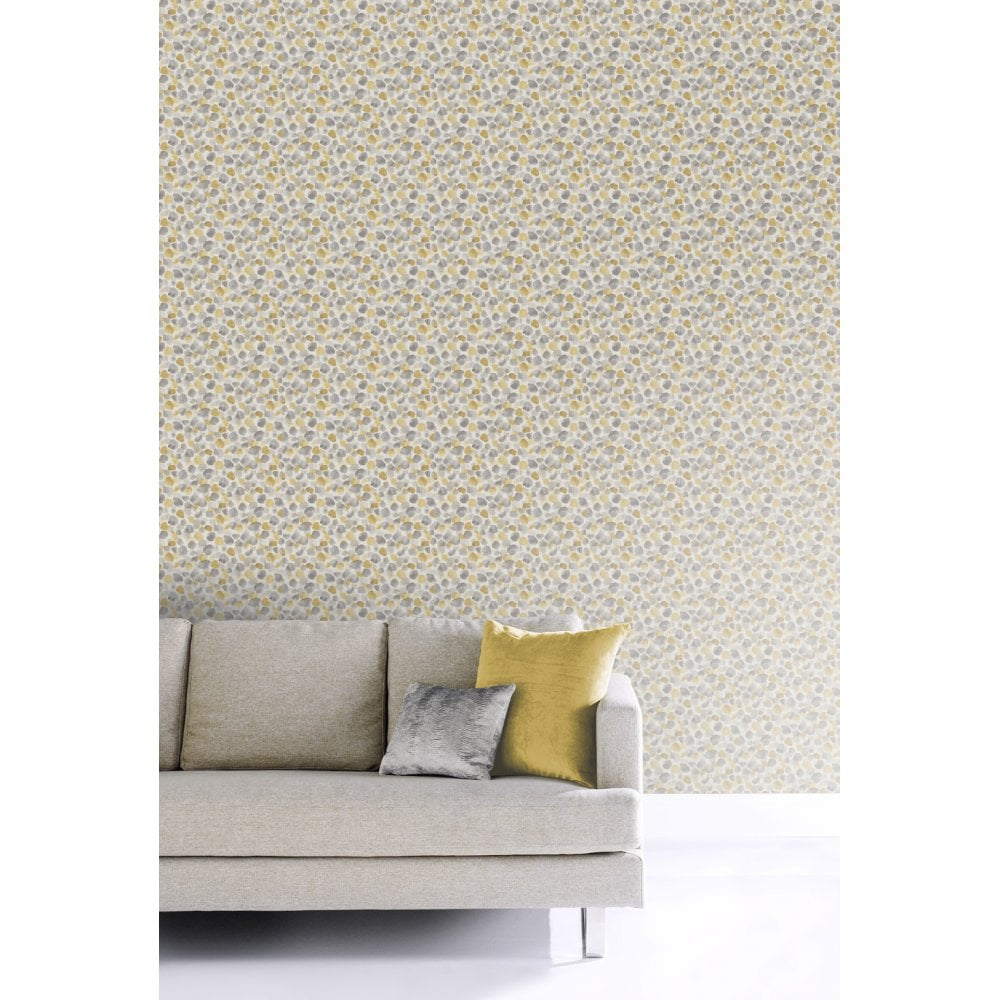 . Painted Dot Mustard Yellow Linen Effect Smooth Contemporary Wallpaper 676200
