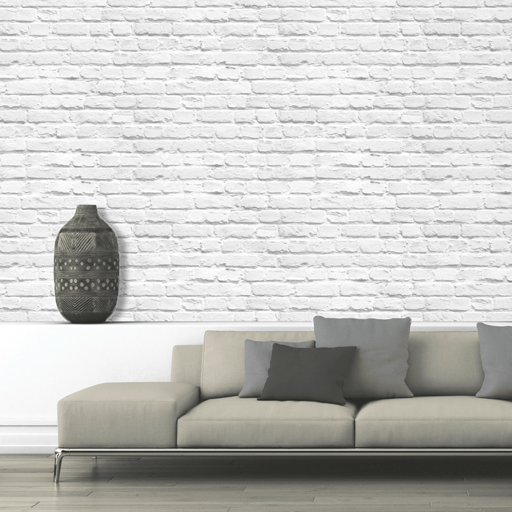 Muriva Painted White Brick Realistic Brick Effect Modern Wallpaper 102539