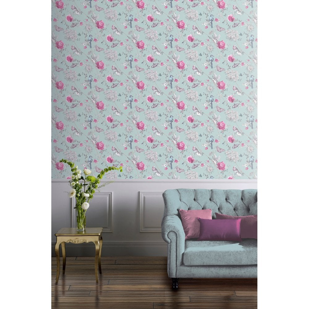 Arthouse Paradise Garden Birds Lilac Floral Glitter Wallpaper
