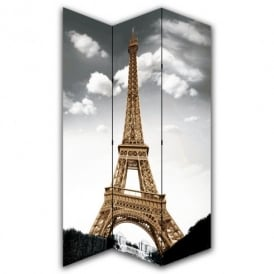 Paris Eiffel Tower Canvas Dressing Privacy Screen Folding 3 Panel Room Divider HW6161