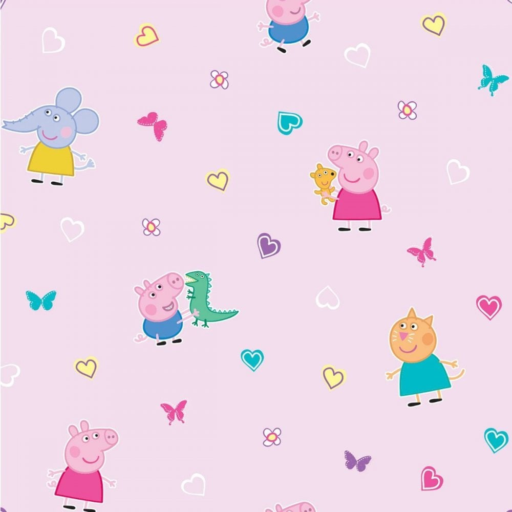 Peppa Pig Pink Heart Butterfly Childrens George Pig Emily Elephant Candy Cat Wallpaper