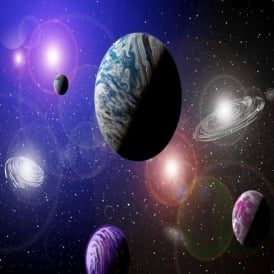 Rainbow Alien Planets Space Wallpaper Mural Photo Giant Wall Decor