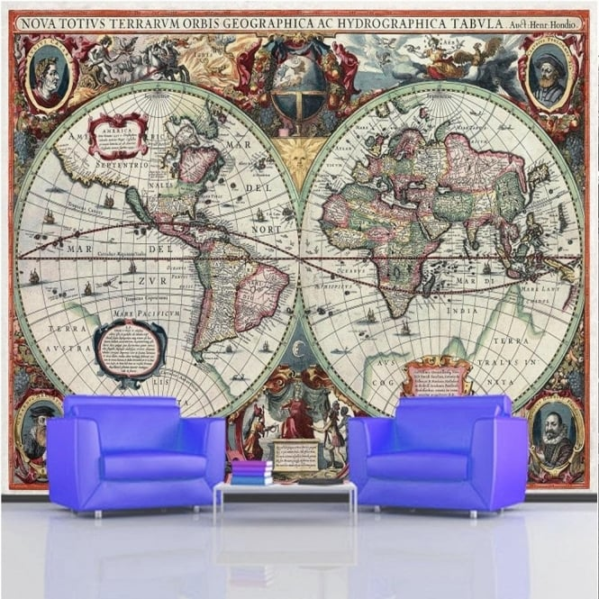 Rainbow Ancient World Map Wallpaper Mural Photo Giant Wall Decor