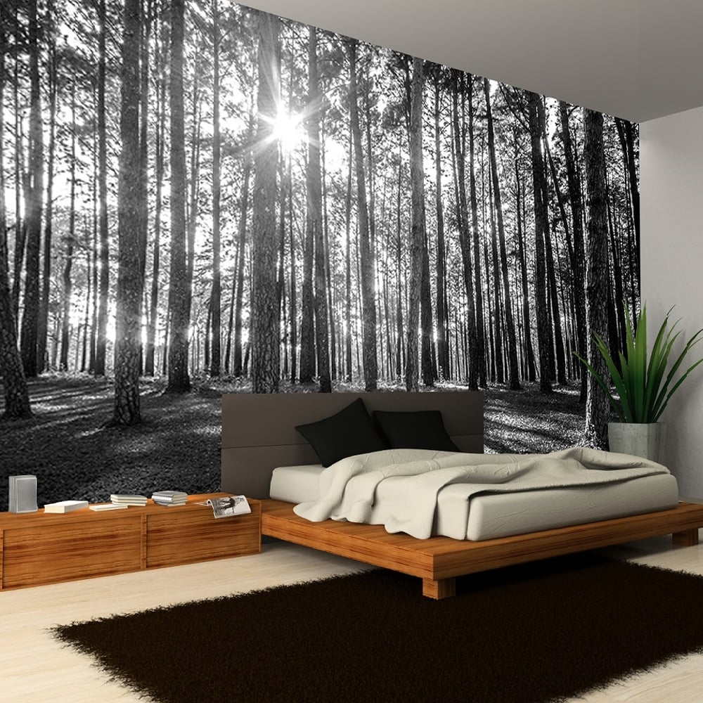 Rainbow black white woodland forest mural photo giant for Black tree wall mural