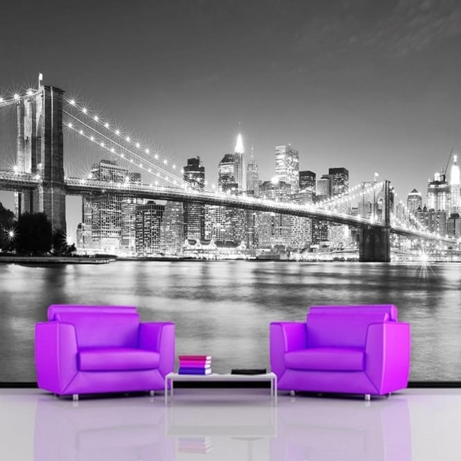 Rainbow Brooklyn Bridge New York Wallpaper Mural Photo Giant Wall Decor