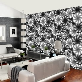 Rainbow Circle Pattern Wall Mural 3D Effect Black White Geometric Wall Décor R229