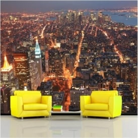 Rainbow Empire State View Wallpaper Mural Photo Giant Wall Decor