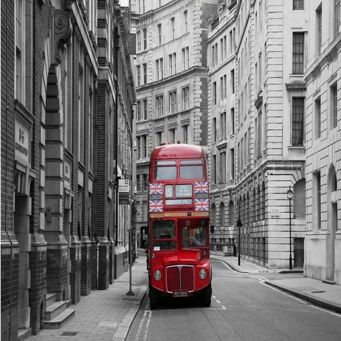Rainbow London Red Bus Wallpaper Mural Photo Giant Wall Decor