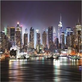 Rainbow New York At Night Wallpaper Mural Photo Giant Wall Decor