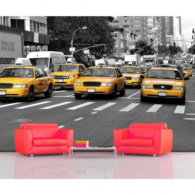 Rainbow New York Taxi Wallpaper Mural Photo Giant Wall Decor
