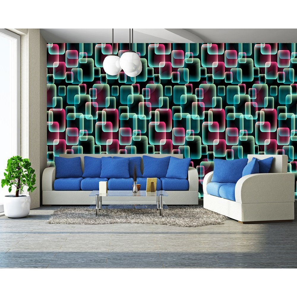 Rainbow abstract retro square pattern 3d effect mural wall for 3d effect wallpaper for home