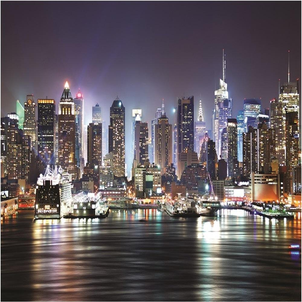 Rainbow new york at night wallpaper mural photo giant wall for Black and white new york mural wallpaper