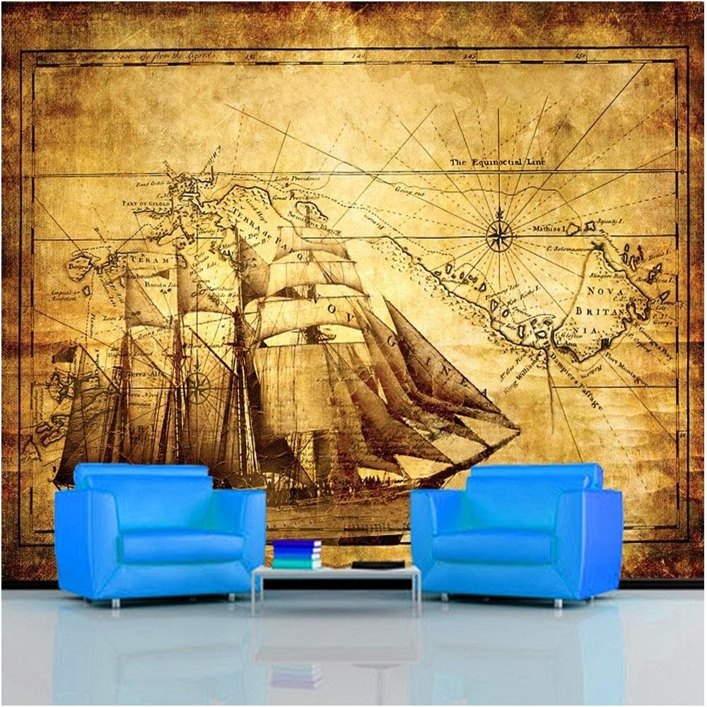 Rainbow vintage map wallpaper mural photo giant wall decor for Antique wallpaper mural