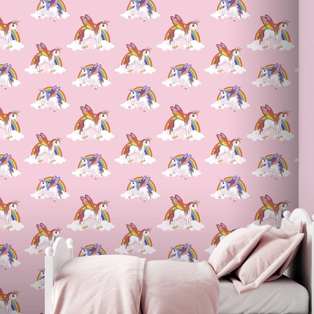 Rainbow Unicorn Pattern Childrens Wallpaper Magic Cloud Horse Motif Kids Bedroom 6303 Pink I