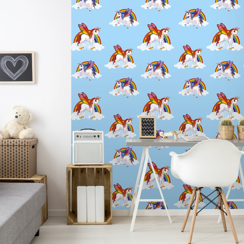 Unicorn Pattern Childrens Wallpaper Magic Cloud Horse Motif Kids Bedroom 6304