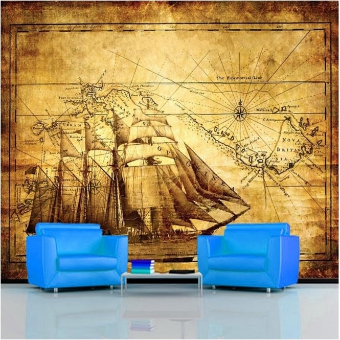 Rainbow Vintage Map Wallpaper Mural Photo Giant Wall Decor