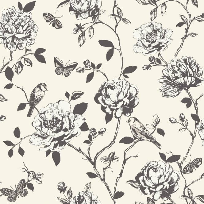 Rasch Amour Flower Bird Butterfly Floral Pattern Silver Glitter Wallpaper 204308