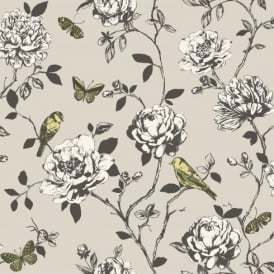 Rasch Amour Flower Bird Butterfly Floral Pattern Silver Glitter Wallpaper 204315