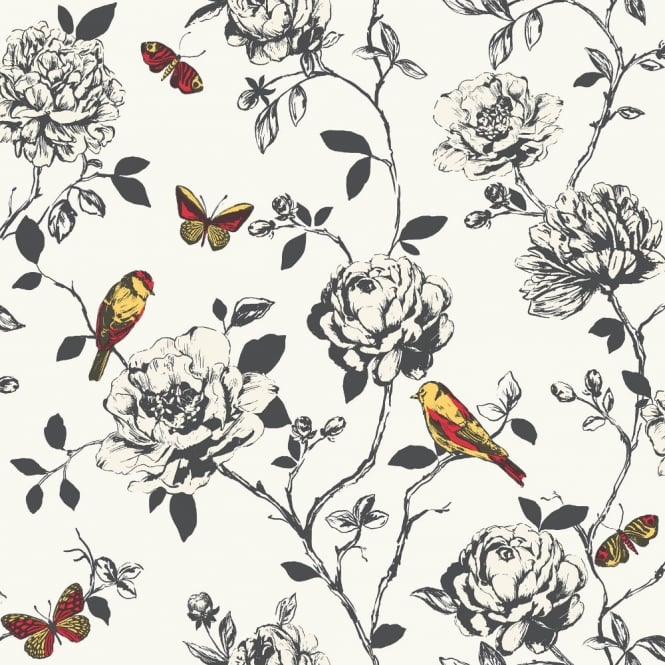 Rasch Amour Flower Bird Butterfly Floral Pattern Silver Glitter Wallpaper 204322