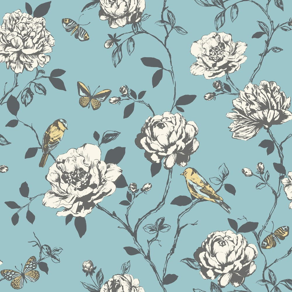 Flower Bird Butterfly Floral Pattern Silver Glitter Wallpaper