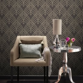 Rasch Astoria Art Deco Pattern Wallpaper Retro Arch Embossed Metallic Glitter Motif 305319