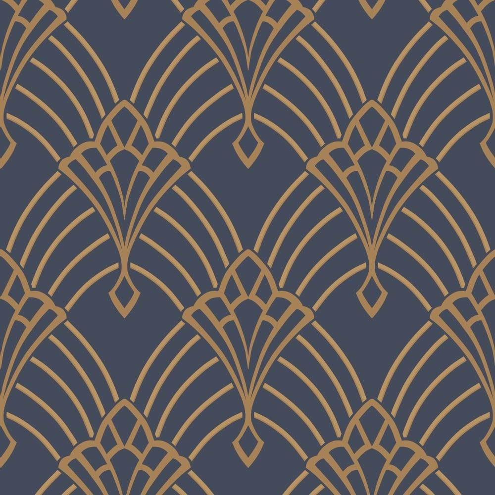 Rasch Art Deco Pattern Wallpaper Arch Embossed Metallic Glitter 305340