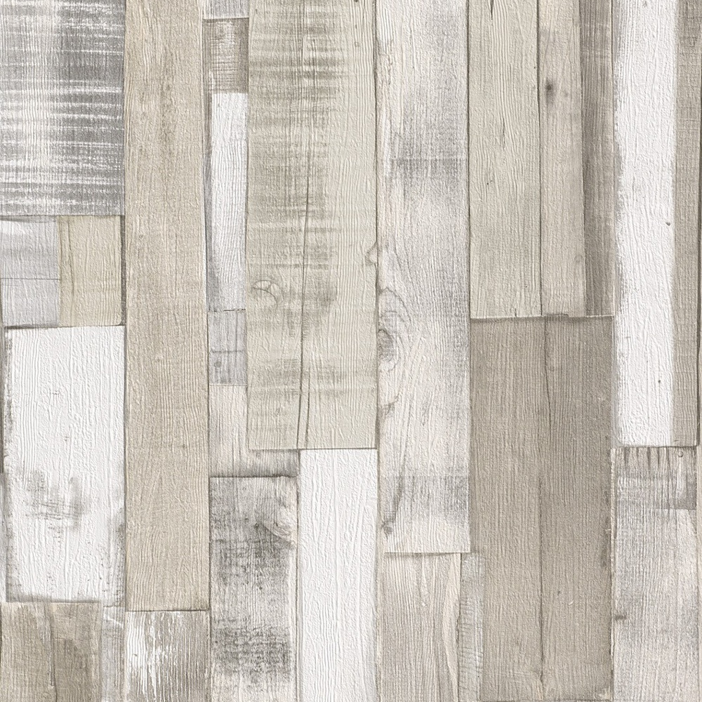 Rasch authentic wood wooden beam panels embossed textured wallpaper 203714 beige cream i - Wood effect bathroom wallpaper ...
