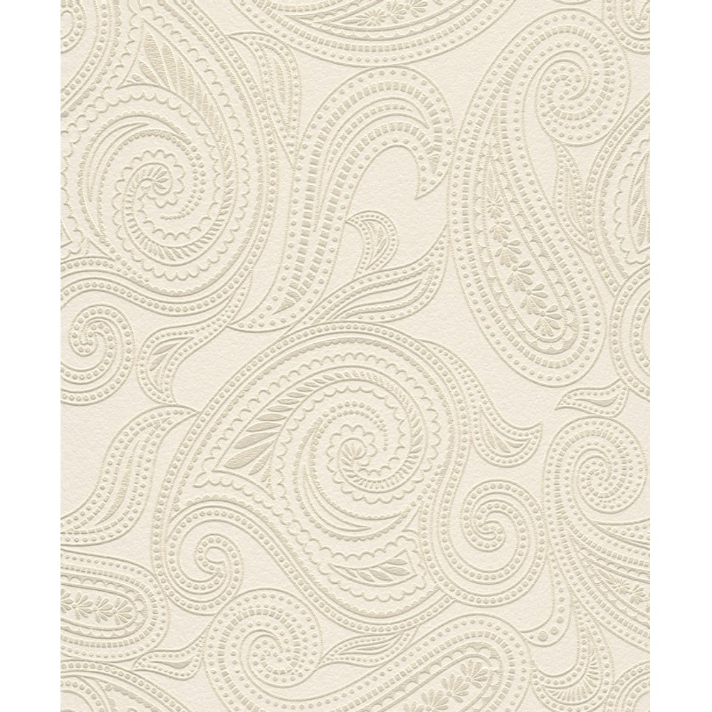 rasch barbara becker paisley motif patterned embossed metallic white gold wallpaper 716702. Black Bedroom Furniture Sets. Home Design Ideas