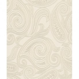 Rasch Barbara Becker Paisley Motif Patterned Embossed Metallic White Gold Wallpaper 716702