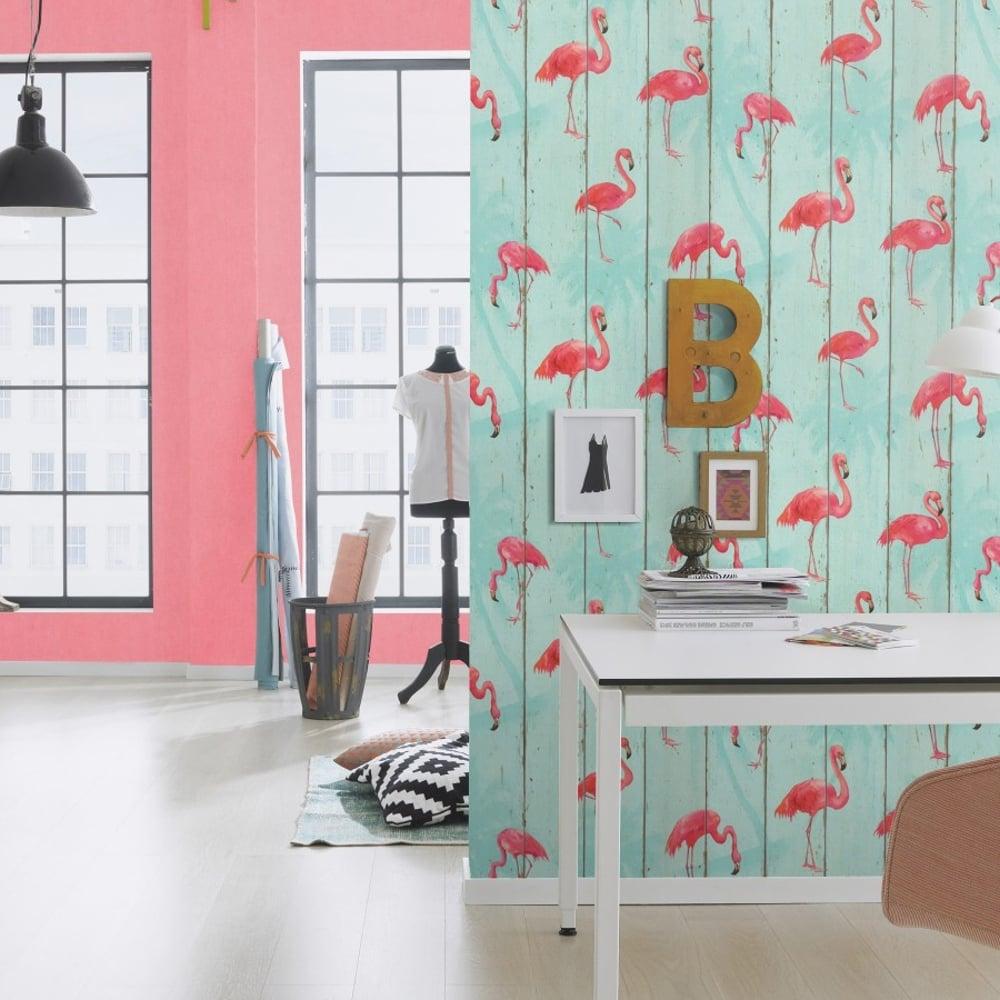 rasch barbara becker wood panel pattern wallpaper faux effect flamingo bird motif 479706 teal. Black Bedroom Furniture Sets. Home Design Ideas