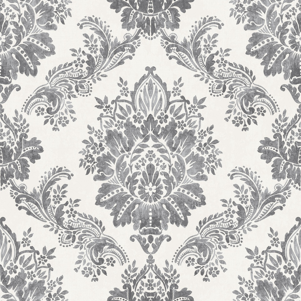 rasch bloomsbury damask pattern floral motif traditional metallic wallpaper 204834 charcoal. Black Bedroom Furniture Sets. Home Design Ideas