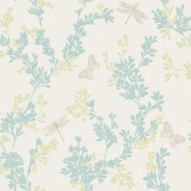 Rasch Bloomsbury Leaf Pattern Gold Butterfly Dragonfly Motif Wallpaper 204926