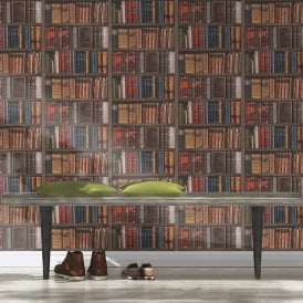 Rasch Book Shelf Pattern Wallpaper Realistic Bookcase Vintage Library 934809