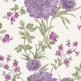 Rasch Bordeaux Flower Pattern Floral Motif Traditional Metallic Wallpaper 208542