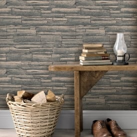 Rasch Brick Pattern Wallpaper Faux Effect Realistic Embossed Textured Metallic 281224