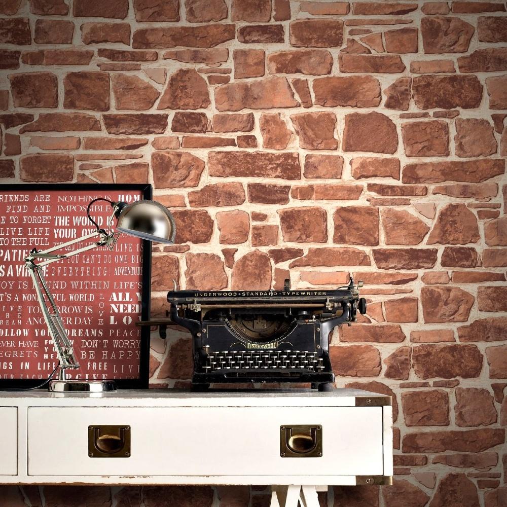 Rasch brick wall pattern faux effect realistic mural for Brick wallpaper office