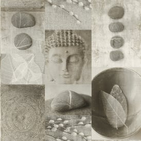 Rasch Buddha Pattern Bathroom Wallpaper Stone Effect Embossed Vinyl 306347