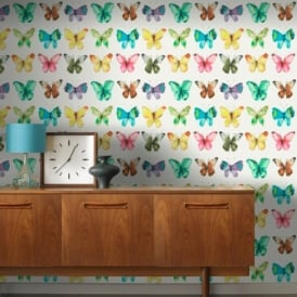 Rasch Butterfly Pattern Water Coloured Canvas Motif Metallic Wallpaper 273601