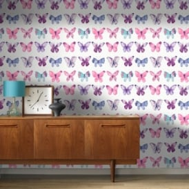 Rasch Butterfly Pattern Water Coloured Canvas Motif Metallic Wallpaper 273618