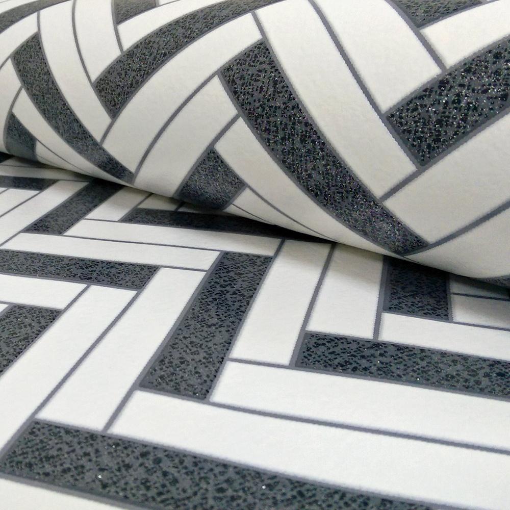 Rasch Chevron Stripe Pattern Glitter Motif Kitchen