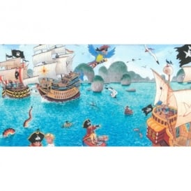 Rasch Childrens Pirate Pattern Pirate Ship Parrot Wallpaper Border 289800