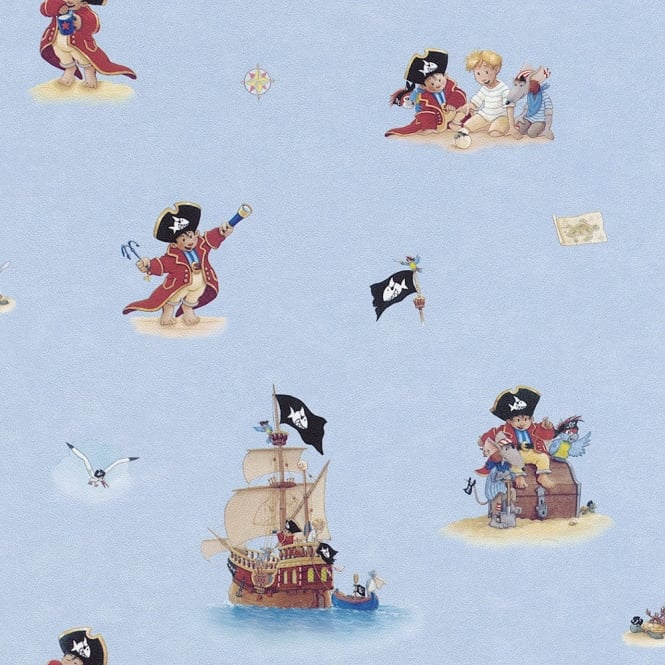 Rasch Childrens Pirate Pattern Treasure Pirate Ship Washable Wallpaper 289602