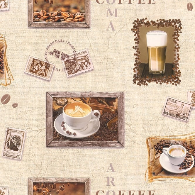 Rasch Coffee Motif Cappuccino Mocha Photo Embossed Vinyl Kitchen Wallpaper 855111
